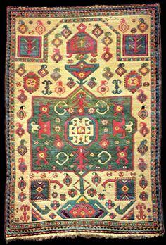 "AH 1273 (Islamic date [1857 AD]) dated Kazak Prayer rug, 3'3"" x 4'9"", Kazak District (Казахский уезд), Azerbaijan."