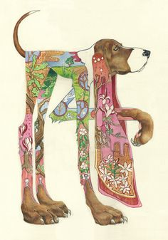 hound dog painting by Daniel Mackie. Love the unique and whimsical quality of…