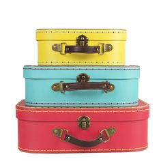 This set of 3 Brights Retro Suitcases will brighten up any room.
