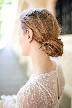 Loose Wedding Bun with Barrette