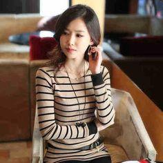 Günstige 2014 fallen frauen neue mode schlanke lange  Ärmeln female t  shirt wilden rundhals gestreiften t shirt, Kaufe Qualität T-Shirts direkt vom China-Lieferanten: