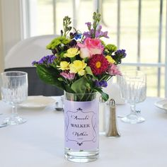 Personalized Timeless Table Decoration -These are really cute for the table centerpieces