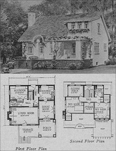 1923 Olsen & Urban - Hollow-tile Cottage Bungalow - Books of a Thousand Homes - Olsen & Urbain, Architects *a sleeping porch on the second floor! Bungalow Floor Plans, House Floor Plans, Cottage Homes, Cottage Style, Cottage Plan, Detail Architecture, Victorian Architecture, Sleeping Porch, Floor Sleeping
