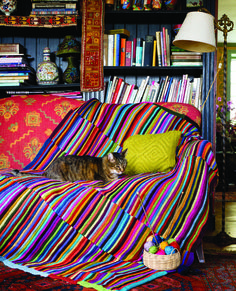 Striped Hand-Knit Scrap Yarn Afghan from Crafting a Colorful Home by Kristin Nic. Striped Hand-Knit Scrap Yarn Afghan from Crafting a Colorful Home by Kristin Nicholas. Knitted Throw Patterns, Knitted Afghans, Knitted Blankets, Knitting Patterns, Baby Blankets, Knitting Ideas, Scrap Yarn Crochet, Knitting Yarn, Hand Knitting