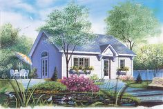 <ul><li>At 28' square, this cottage is about as simple to build as possible. No inch is wasted which is important in a design of this size. </li><li>A coat closet is a nice feature in the front hall. To the side, a small alcove is the perfect spot for your computer or quiet workspace. </li><li>The kitchen is oipen to the living area which has a nicely-sized wall perfect for a space-saving flat panel TV. A side door could lead to a patio or deck. </li><li>The masrer bedroom has a…