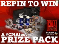 "REPIN for your chance to win this CMA Music Festival Prize Pack! A winner will be drawn after the show on Monday. Good luck, and don't forget to watch ""CMA Music Festival: Country's Night to Rock"" on August 12 at 8