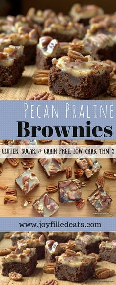 Pecan Praline Brownies = The Best Brownie Ever. Rich, full of chocolate, covered with pecans and creamy praline. Gluten/Grain/Sugar Free, Low Carb, THM S. via Joy Filled Eats - Gluten Sugar Free Recipes Dessert Sans Gluten, Bon Dessert, Dessert Recipes, Baking Recipes, Low Carb Sweets, Low Carb Desserts, Low Carb Recipes, Raw Desserts, Healthy Recipes