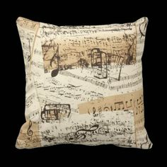 Vintage Music Sheets Antique Style Pillow | http://artattack2go.com Price of this product $30.95.