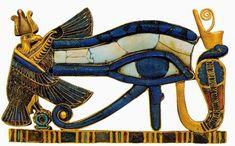 Украшение . Золото, сердолик, бирюза, цветная паста; инкрустация Национальный музей, Каир Слева от глаза Гора - покровительница Верхнего Египта богиня Нехбет (Гриф), справа - покровительница Нижнего Египта богиня Уаджит (Кобра)