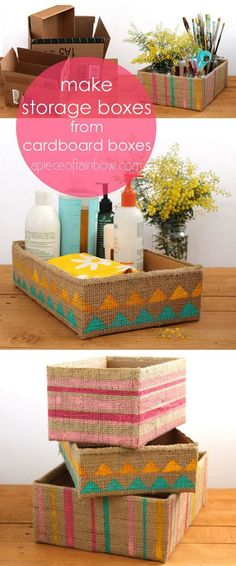 Gorgeous Farmhouse Boho 5 Minute DIY Storage Boxes Make beautiful storage box from up-cycled cardboard box and burlap coffee bean bags! Super easy tutorials on 3 variations. - A Piece Of Rainbow Upcycled Crafts, Diy And Crafts, Recycled Decor, Cute Storage Boxes, Craft Storage, Storage Ideas, Cheap Storage, Storage Organization, Shoe Box Storage
