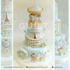 Baby shower cake for girls no fondant boys 68 ideas for 2019 Carnival Cakes, Carnival Themed Party, Carnival Birthday Parties, Baby Shower Desserts, Baby Shower Cakes, Fondant, Carousel Cake, Carousel Horses, Baby Shower Decorations Neutral