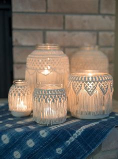 5.25 tall x 4 wide with 3 opening glass jar covered with handmade macrame. Add some sand and a candle & it becomes the perfect bohemian candle holder. Fill it with flowers for a unique vase. Group several together for a table centerpiece. Great for weddings, home & holiday decor. Every item is handmade by me. No two are exactly alike. I like to think of them as perfectly imperfect. Hope you love these as much as I loved making them. This listing is for 1 small macrame jar. Please se...