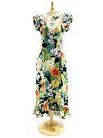 [Plus Size] Pacific Legend Tropical Flower Black Cotton Hawaiian Ruffle Long Muumuu Dress