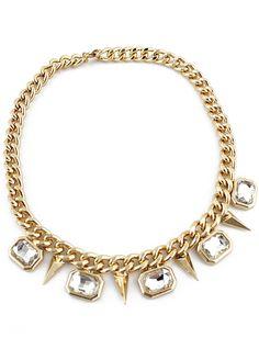 Gold Crystal Rivet Chain Necklace - Sheinside.com