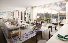 Living Room Luxury Beautiful View. Manhattan ApartmentPenthouse ...