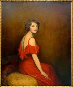Lilla Cabot Perry - Lady in Red Portrait 1932