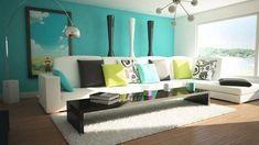 Outstanding Turquoise Blue Green Living Room and Natural Light....    love the color of this wall...from   http://www.chibamboo.com/stunning-blue-green-interior-home-design-ideas.html/outstanding-turquoise-blue-green-living-room-and-natural-light