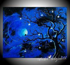 Free Shipping No Fees Original Painting 16 x 20 Blue Enchanted Evening Acrylic $80.00