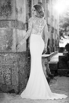 Backless illusion lace wedding dress from the Martina Liana 2016 Collection