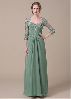 Fantastic Chiffon Sheer Jewel Neckline Floor-length A-line Evening / Mother Of The Bride Dress With Lace Appliques - Adasbridal.com