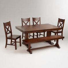 Mahogany Verona Trestle Table   World Market $499.99