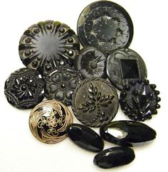 Black glass buttons became popular in Victorian England after Queen Victoria went into mourning on the death of Prince Albert.