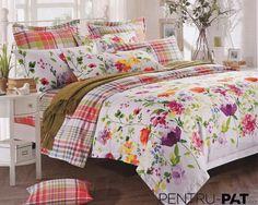 Lenjerie de pat 100% bambus Pucioasa cu flori si patratele Comforters, Blanket, Bed, Home, Stream Bed, House, Ad Home, Rug, Homes