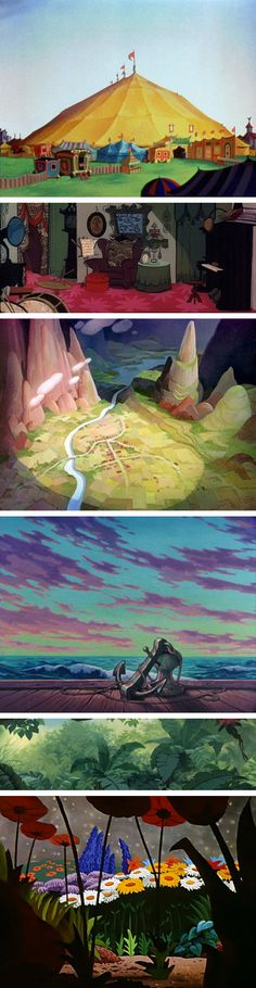 a selection of animation background paintings
