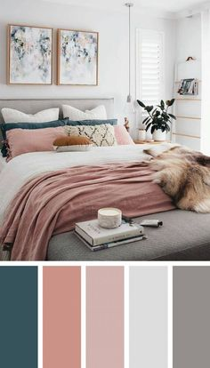12 beautiful bedroom color schemes that will give you inspiration for your next bedroom remod. - 12 beautiful bedroom color schemes that will give you inspiration for your next bedroom remodel – - Next Bedroom, Dream Bedroom, Home Decor Bedroom, Diy Bedroom, Blush Bedroom Decor, Teal Master Bedroom, Master Bedrooms, Blue And Pink Bedroom, Mauve Bedroom
