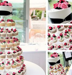 Best of both worlds: a small cake on top, cupcakes for your guests. What a great way to save money!