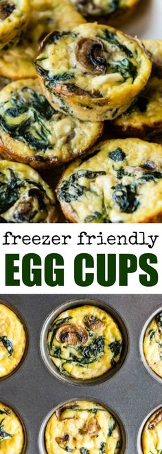 Egg Cups with Mushrooms, Spinach, and Cheese are the perfect high-protein meal or snack to have on hand in the fridge. via @culinaryhill