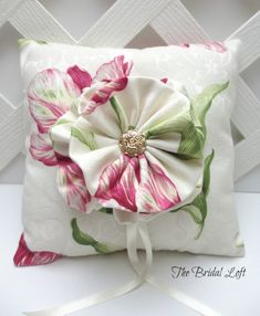 ON SALE Pink Green and Ivory Wedding Ring Pillow, Pink and Green Floral Wedding Ring Bearer Pillow, Ready to Ship, Matching Basket AvailablePretty Pink, Green and Ivory Damask Print Wedding Ring Bearer Pillow with Matching Fabric Flower Handmade by B Damask Wedding, Floral Wedding, Ivory Wedding, Sewing Pillows, Diy Pillows, Cushions, Pillow Texture, Ring Pillow Wedding, Flower Pillow