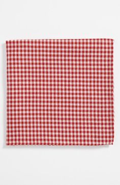 $19, Burgundy Gingham Pocket Square: Simon Cotton Pocket Square. Sold by Nordstrom. Click for more info: https://lookastic.com/men/shop_items/46247/redirect