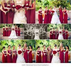 Red bridesmaids dresses for a November wedding, San Diego wedding photographer