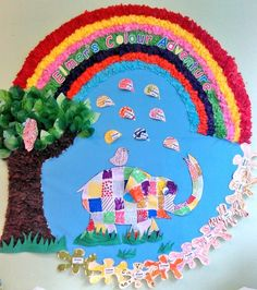 Fab colourful Elmer the patchwork elephant display Jungle Preschool Themes, Nursery Activities, Color Activities, Baby Room Display Boards, Display Ideas Nursery, Eyfs Classroom, Classroom Displays, Classroom Themes, Baby Room Nursery School