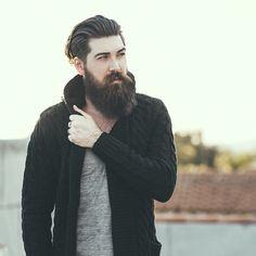 Lane Toran - full thick dark beard and mustache beards bearded man men mens' street style fashion clothing winter bearding #beardsforever