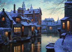 Cottage night #Snow #Village #Santa Claus