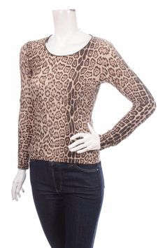 ROBERTO CAVALLI WOMEN TOP BLOUSE SIZE M 42 LEOPARD ANIMAL PRINT BEIGE BROWN #RobertoCavalli #Blouse #Casual