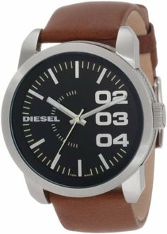 Diesel Black Dial Tan Leather Strap Mens Watch DZ1513 Diesel. $104.00. 5 ATM, Water-resistant for up to 50 meters. Stainless Steel Case. 2 Year Warranty. Durable mineral crystal protects watch from scratches
