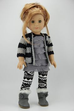 This listing is for a three piece outfit. It includes a cardigan, leggings and top. The black and gray cropped cardigan is made with a sweater