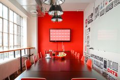 This carte blanche was totally transformed into a colorful, on-brand representation of Appboy's awesome app marketing campaigns. Bright sunlight, open areas and mix of mid-century and contemporary furnishings make this midtown office fun and practical for work.