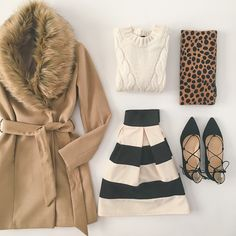 Camel faux fur collar belted coat, stripes and leopard flatlay
