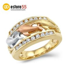 new solid 14k tri color gold three dolphins together cz cubic zirconia ring - Dolphin Wedding Rings