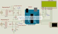 Schematic for arduino based power meter