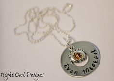 Hand Stamped Childs Name Necklace with by NightOwlDesignsShop