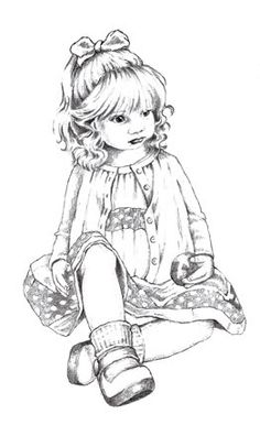Little Girl with apple coloring page
