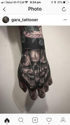 Blackwork by Gara Skull Hand Tattoo, Hand Tats, Skull Tattoos, Sleeve Tattoos, Knuckle Tattoos, Forearm Tattoos, Body Art Tattoos, Japanese Hand Tattoos, Japanese Tattoo Designs