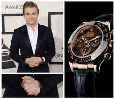 Hunter Hayes was spotted wearing a Rolex Daytona at the 2014 Grammy Awards. The watch is rose gold with a black monobloc Cerachrom bezel in ceramic.