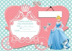 convite cinderela para imprimir 4th Birthday Parties, 5th Birthday, Birthday Cakes, Cinderella Theme, Prince Party, Party Decoration, Baby Shark, Party Printables, Invitations