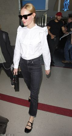 Landing lovely: Kate Bosworth arrived to Los Angeles in style Friday, looking lovely while...